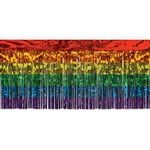 Add a touch of pride and color to your event tables, stages and backgrounds with this shimmering rainbow colored metallic table skirting.  30 inches tall and 14 feet long, 1 ply.