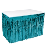 Adding this Turquoise 1-Ply Metallic Table Skirting to your party tables will create the interesting, kinetic and vibrant decor your guest will be talking about for weeks.  The skirting is 30 inches tall and 14 feet long.