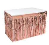 Your tables will shimmer in the lightest breeze with this scintillating Rose Gold 1 Ply Metallic Table Skirting.  An easy, fun and inexpensive way to add interest and color to any venue.  Easy to hang and reusable with care.