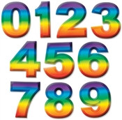 Multi-Color Plastic 3-D Number (Select Number)