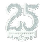 Glittered 25th Anniversary Crest