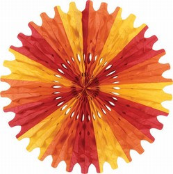 Gold, Orange, and Red Art-Tissue Fan