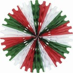 Red, White, and Green Art-Tissue Fan