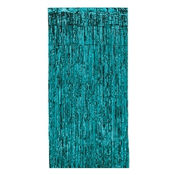 Your wall will shimmer and shine with this Turquoise 1-Ply Gleam 'N Curtain.  An easy and classic way to add color, interest and movement to your party's venue.  Sold one per package, this metallic drapery includes a rod pocket for easy hanging.
