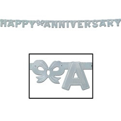 Silver Foil Happy Anniversary Streamer