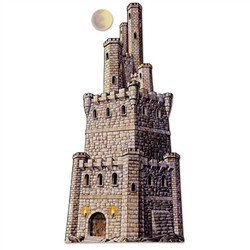 This Jointed Large Castle Tower decoration is printed on both sides so you can use it in a window or turn it into a hanging decoration. There is a lot of detail in this castle and you can see the individual bricks and torches on the front of the main gate