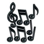 Black Plastic Musical Notes (7/package)