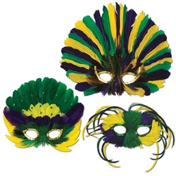 Assorted Green, Gold & Purple Feathered Masks