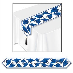 Blue Printed Grad Cap Table Runner