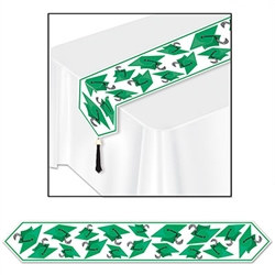 Green Printed Grad Cap Table Runner