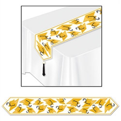 Gold Printed Grad Cap Table Runner