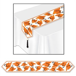 Orange Printed Grad Cap Table Runner