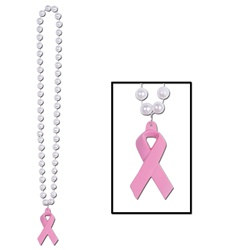 Beads with Pink Ribbon Medallion (1/pkg)