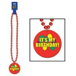 Beads with It's My Birthday Medallion