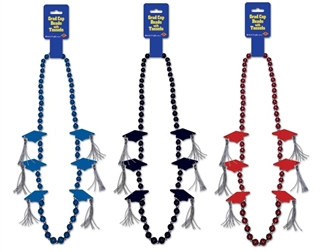 Grad Cap Beads with Silver Tassels (Choose Color)