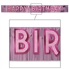 Metallic Pink Happy Birthday Banner