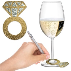 The Diamond Ring Wine Glass Markers are made of cardstock and measure 3 1/2 inches tall and 2 1/4 inches wide. Your guests can write their names on them to keep track of which drink is theirs. Contains twenty four (24) pieces per package.