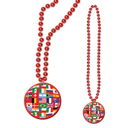 Red Beads with International Flag Medallion (1/pkg)