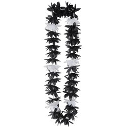 Black and White Silk N Petals Lotus Leis (1/pkg)