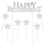 "Congratulate your guest of honor in style with this classic Happy Retirement Cake Topper.  Each package comes with one 6"" x 8.25"" topper and six 1.25"" stars.  Food safe and a great way to show you care."