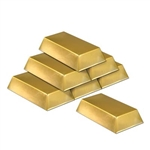 Plastic Gold Bar Decorations (6/pkg)