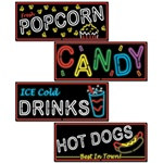 Neon Food Sign Cutouts (4/pkg)