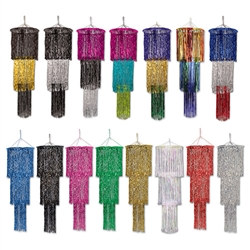 3-Tier Shimmering Chandelier 4' Long (Choose Color)