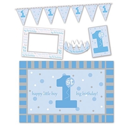 1st Birthday High Chair Decorating Kit - Blue features a chair mat, photo frame, crown, pennant streamer, and sign. Items are a combination of printed card stock, plastic, and felt. These photo props help commemorate the big event!