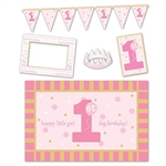 1st Birthday High Chair Decorating Kit - Pink features a plastic chair mat, card stock items including photo fun frame, sign, and streamer, plus a felt crown for the guest of honor. All items in a coordinating color palette of pinks, gold, and white.