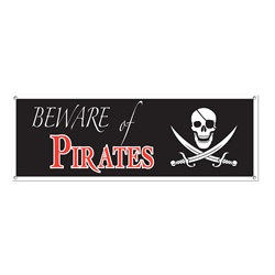 Beware Of Pirates Sign Banner