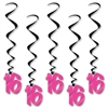 Black And Cerise 16 Whirls (5/Pkg)