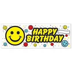 Birthday Smile Face Sign Banner