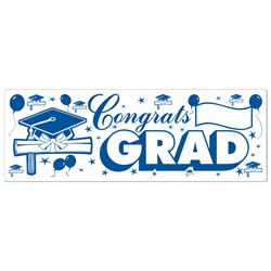 Blue and White Congrats Grad Sign Banner