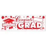 Red and White Congrats Grad Sign Banner