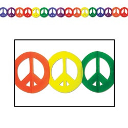 Multi-Color Peace Sign Garland