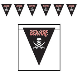 Beware of Pirates Giant Pennant Banner