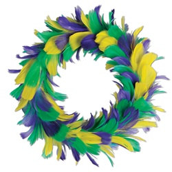 Green, Gold and Purple Feather Wreath (8 inch)