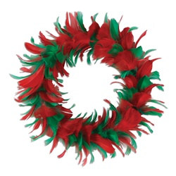 Red and Green Feather Wreath