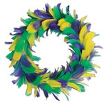 Green, Golden Yellow and Purple Feather Wreath (12 inch)