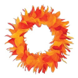Golden Yellow, Orange and Red Feather Wreath (12 inch)
