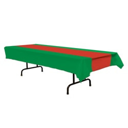 Red and Green Plastic Tablecover