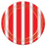 Red & White Stripes Luncheon Plates