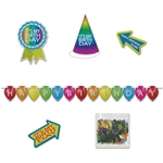The Birthday Desktop Party Pack Kit contains 6 assorted Happy Birthday items, such as a banner, hat, bag of confetti, and 3 cutout signs. Printed in a colorful prismatic pattern on one side. Constructed of heavy card stock. Perfect for office cubicles!