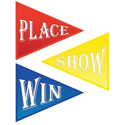 The Win, Place & Show Cutouts are made of colorful cardstock and are blue, red, and yellow. They measure 15 inches at the widest point and 17 1/2 inches long. Printed on two sides. Contains 3 per package.