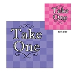 "Perfect for the spills made by the Mad-Hatter at your party! These 2-ply paper napkins feature a colorful design and read ""Take One"" on both sides. One side is pink, while the other side of the napkin is lavender."
