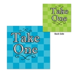 "These 2-ply paper napkins feature a colorful design and read ""Take One"" on both sides. One side is blue, while the other side of the napkin is light green. These napkins are visually pleasing and there is a total of 16 in the package."