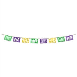 Mardi Gras Picado Style Pennant Banner (12 foot)