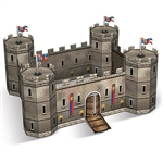 The 3-D Castle Centerpiece is made of cardstock and measures 14 1/2 inches by 18 inches and stands 9 inches tall. Contains one per package. Assembly required- instructions included.