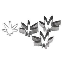 The Weed Cookie Cutters are made of stainless steel and measure 2 3/4 inches by 2 1/2 inches. Contains three (3) per package. Dishwasher Safe. Due to hygiene-related concerns, this item is not eligible for return.