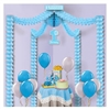 1st Birthday Party Canopy - Blue provides a blue accent  for the gift or cake table at any little boy's first birthday celebration. Fully assembled, simply open and hang. Covers up to a 20 square ft area. Light blue garlands attached to 1st birthday signs
